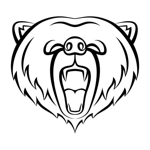 Roaring bear icon isolated on a white background. Bear logo template, tattoo design, t-shirt print. Wild animal contour logo. vector