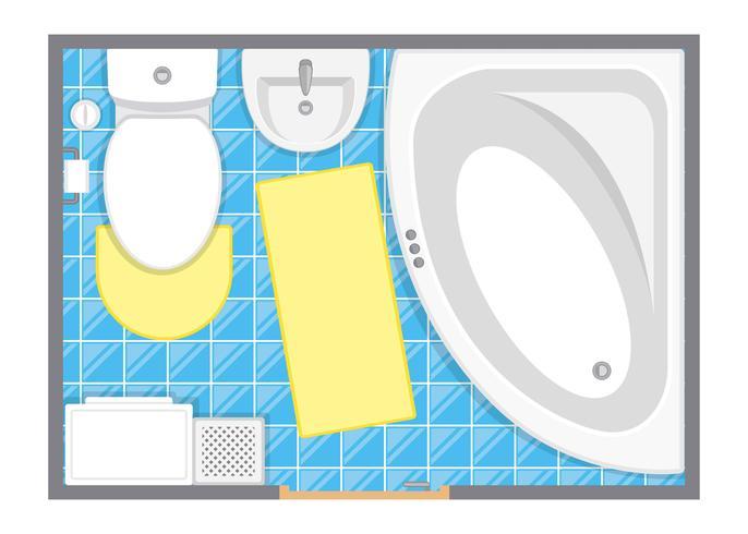 Illustration vectorielle de salle de bain intérieur vue de dessus. Plan d'étage de la salle de toilette. Design plat. vecteur