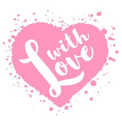 Tarjeta del día de San Valentín con letras dibujadas a mano - con amor - y forma abstracta del corazón. Ilustración romántica para volantes, carteles, invitaciones navideñas, tarjetas de felicitación, estampados de camisetas.