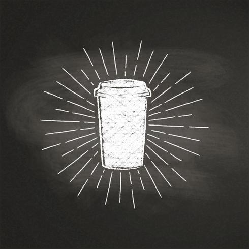 Krit texturerat papper kaffekopp silhuett med vintage solstrålar på svart kartong. Vektor kaffe-till-go-mugg illustration för dryck och dryck meny eller café tema, affisch, t-shirt tryck, logotyp.