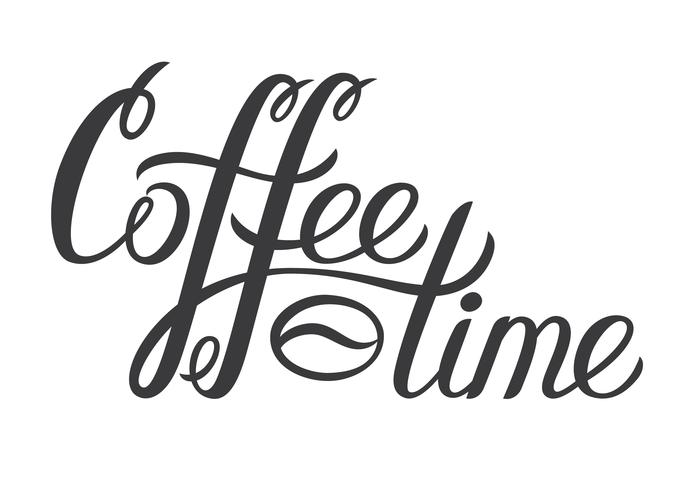Hand drawn lettering Coffee time. Vector Coffee time decorative inscription for poster, logo. Modern brash calligraphy. Hand written ink letters.