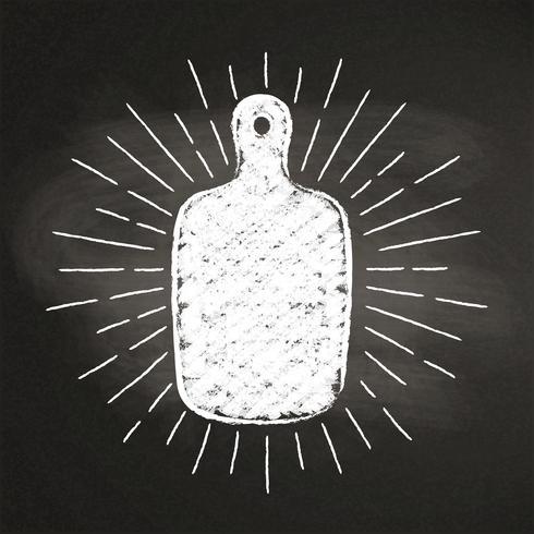 Marque el silhoutte con tiza de la tabla de cortar con los rayos del sol del vintage en la pizarra. Bueno para cocinar logotipos, bades, diseño de menú o pósters. vector