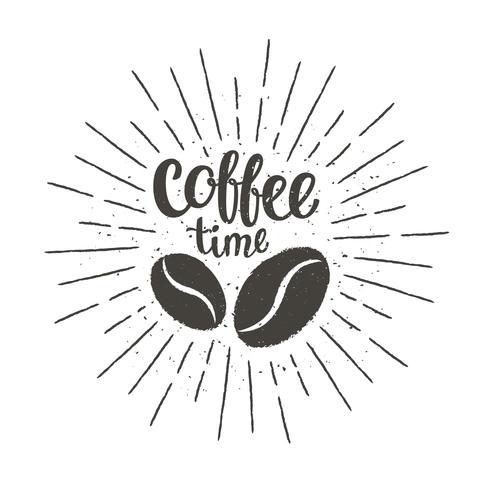 Einfarbige Vintage Kaffeezeitbeschriftung mit Schattenbild von Kaffeebohnen und von Sonnenstrahlen. Vector Illustration für Getränk und Getränkekarte oder Caféthema, Plakat, T-Shirt Druck.