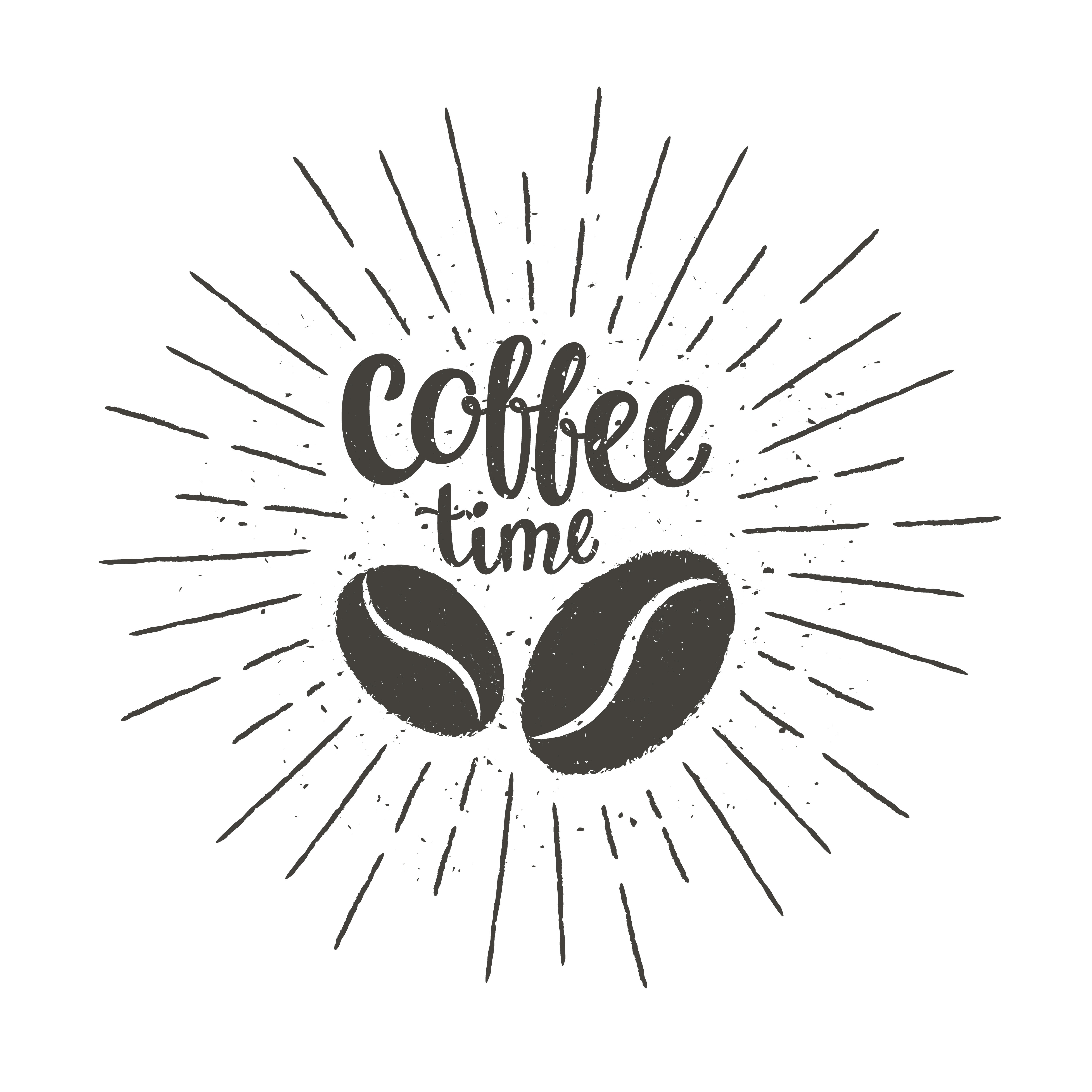 Monochrome vintage coffee time lettering with silhouette ...