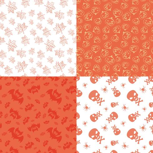 Set of 4 halloween seamless backgrounds. vector