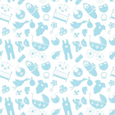 Modelo inconsútil del vector con los elementos del bebé. Ropa y accesorios recién nacidos que repiten el fondo en el estilo del doodle para la materia textil, papel de embalaje, scrapbooking.