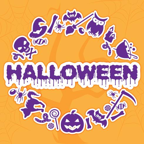 Halloween banner, placard, invitation or greeting card. Vector illustration.