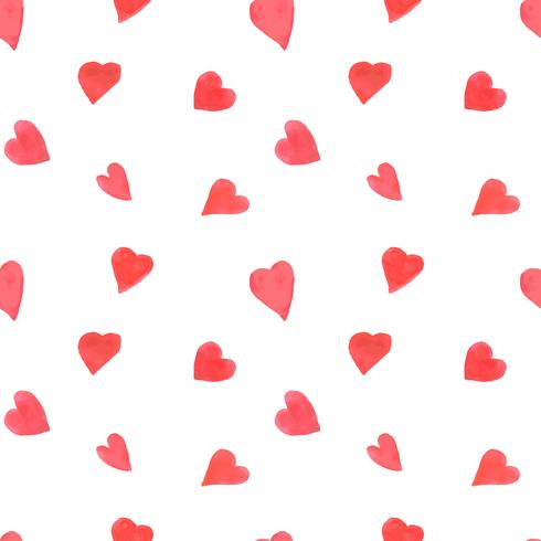 Watercolor hearts seamless pattern. Repeating Valentines day background with painted red hearts. Romantic textile, wrapping paper, wallpaper or scrapbooking texture.