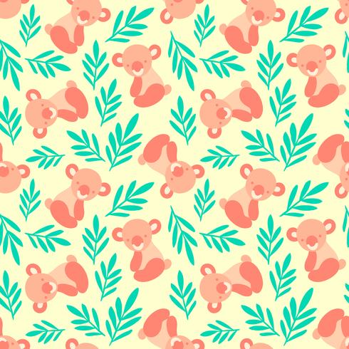 Naadloos patroon met schattige koala's en bladeren. Herhalende achtergrond voor kindertextielafdrukken, inpakpapier. Dierenpatroon voor kinderen.