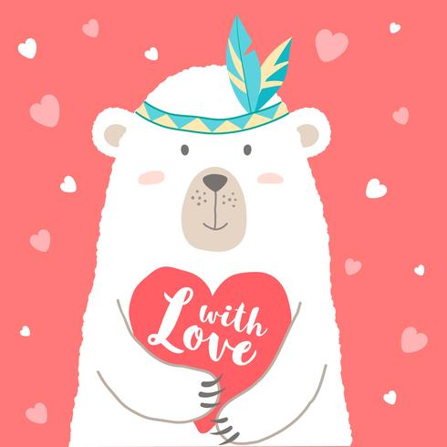 Vector illustration of cute cartoon bear holding heart and hand written lettering with Love for valentines card,  placards, t-shirt prints, greeting cards. Valentines day greeting.