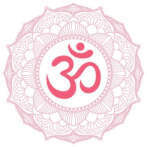 Aum Om Ohm-symbool in decoratief rond mandalaornament. vector