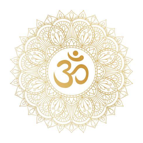 Goldenes Symbol Aum OM Ohm in der dekorativen runden Mandalaverzierung.