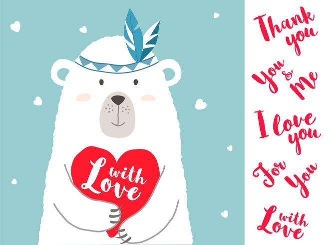 Vector el ejemplo del oso lindo de la historieta que lleva a cabo el corazón y las frases escritas mano para los carteles de la tarjeta de las tarjetas del día de San Valentín, impresiones de la camiseta, tarjetas de felicitación. Tarjeta del día de San V