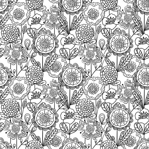 Vector seamless monochrome floral pattern. Hand drawn doodle flowers.