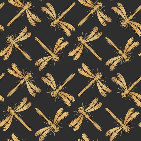 Teste padrão sem emenda textured dourado do vetor da libélula para o projeto de matéria têxtil, papel de parede, papel de envolvimento ou scrapbooking.