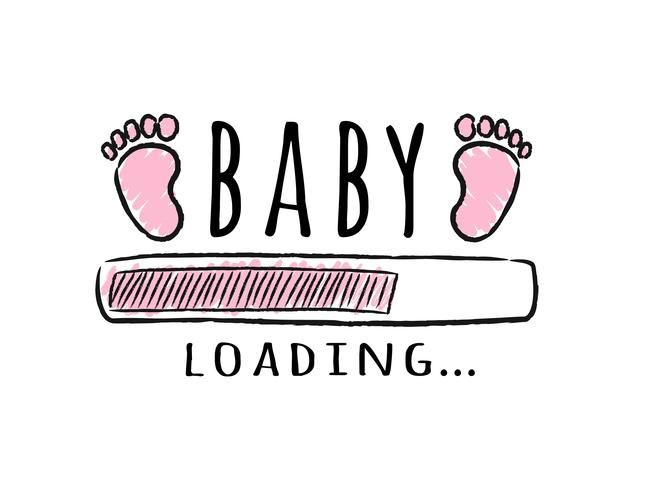 Barra de progreso con inscripción: carga de bebés y huellas de niños en estilo incompleto. Ilustración del vector para el diseño de la camiseta, cartel, tarjeta, decoración de la ducha del bebé.