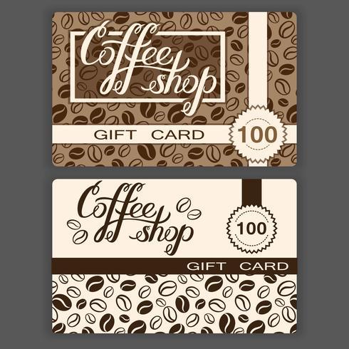 Plantillas de tarjetas de regalo de cafetería. Vector el ejemplo de las tarjetas de regalo de la cafetería con las letras de la mano y el fondo de los granos de café.