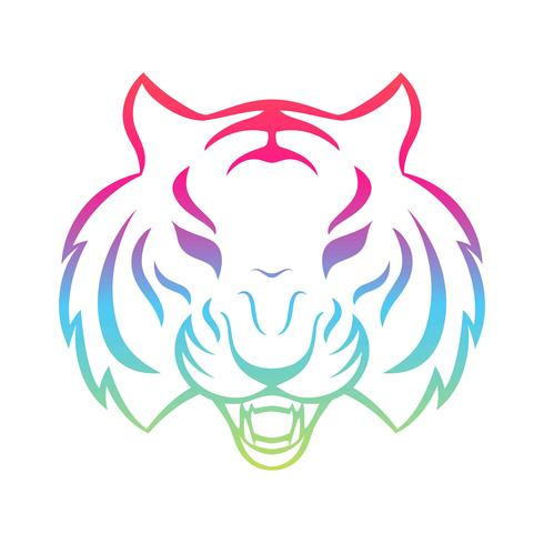 Tiger icon isolated on a white background. Tiger logo template, tattoo design, t-shirt print. vector