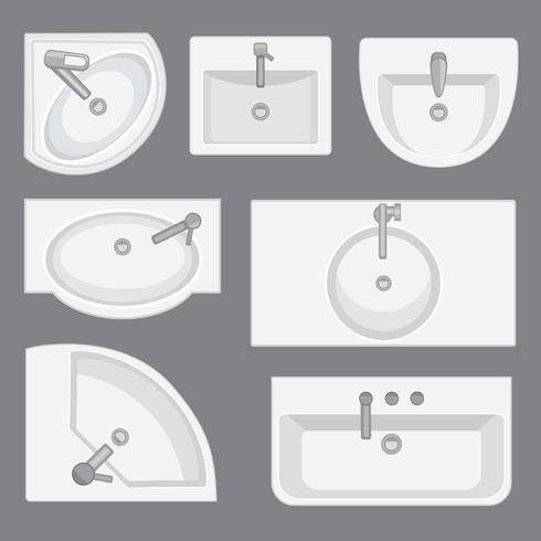 Fregaderos vista desde arriba colección. Ilustración de vector de estilo plano. Conjunto de diferentes tipos de lavabos.