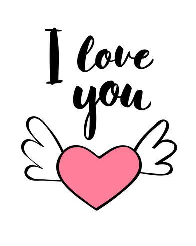 Letras escritas a mano Te amo y forma de corazón para la tarjeta del día de San Valentín, póster, camiseta o etiqueta. Vector ilustración de día de San Valentín.