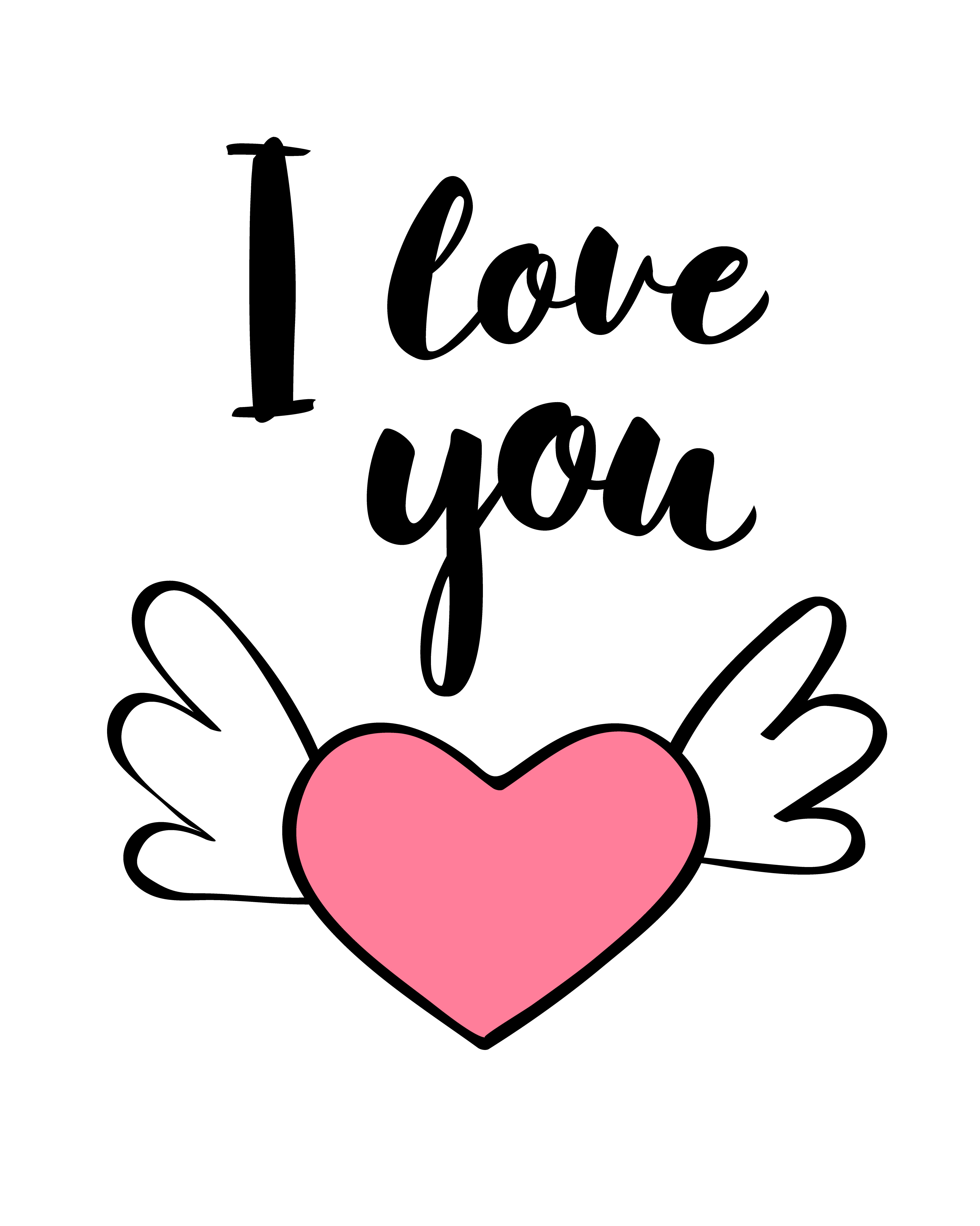 hand written lettering i love you and heart shape for