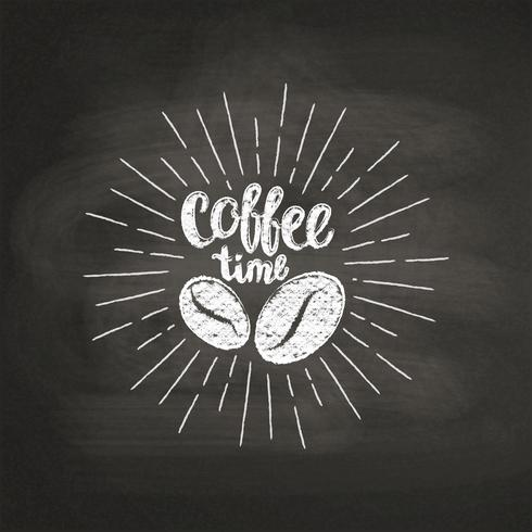 Chalk textured lettering Coffee time with coffee beans on black board. Handwritten quote for drink and beverage menu or cafe theme, poster, t-shirt print, logo. vector