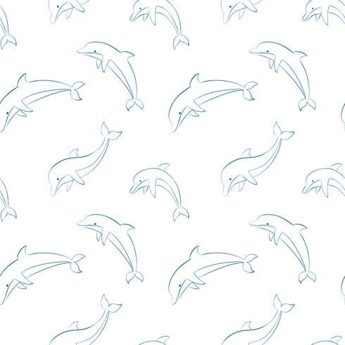 Vector seamless pattern with dolphins.