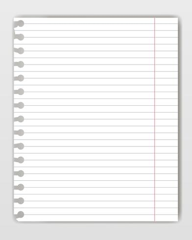 Blank lined copy book sheet with torn edge. Mockup or template of graph notepad page for yor text. vector