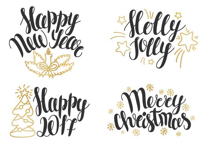 Collezione di lettere di Natale. Frasi disegnate a mano per Natale e Capodanno.