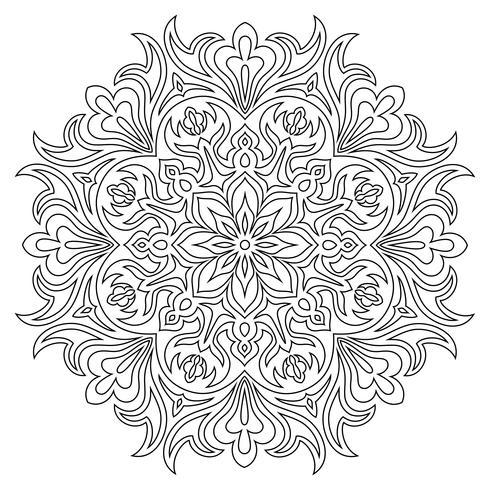 Símbolo de mandala étnico para colorear libro. Patrón de terapia antiestrés.