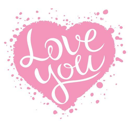 Älskar dig bokstäver på rosa hjärta form, Kärlek bekännelse vektor illustration.
