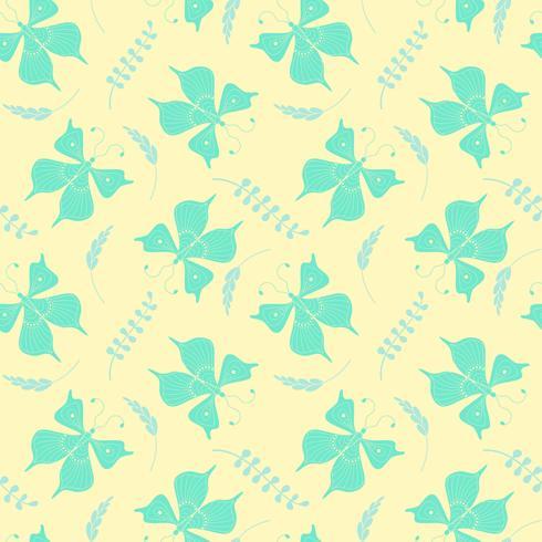 Patrón sin fisuras con mariposas y elementos florales. Ilustracion vectorial