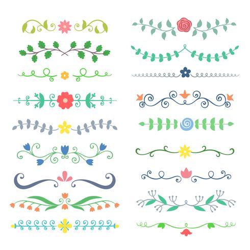 Colección de separadores de texto de broche de colores de dibujado a mano. Doodle de boders botánicos para tipografía de diseño, invitaciones, tarjetas de felicitación. Elementos de diseño caligráfico y floral.