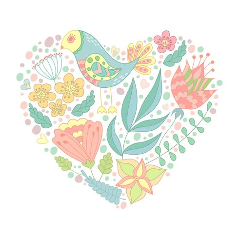 Doodle fågel och blommiga element i hjärtform.