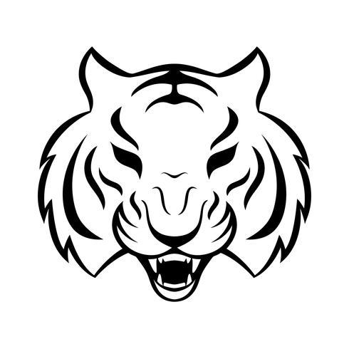 Icono de tigre aislado en un fondo blanco. Plantilla de logo de tigre, diseño de tatuaje, estampado de camiseta. vector