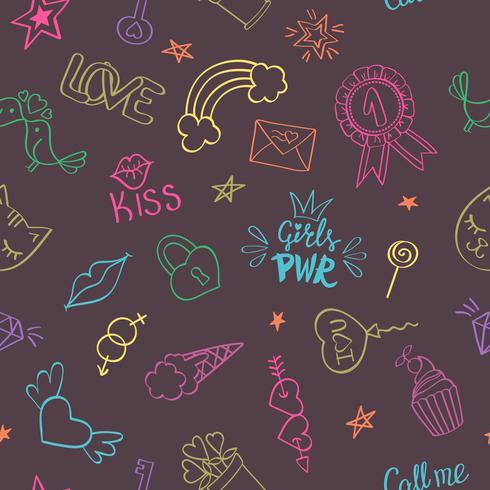 Nahtloses Muster mit Hand gezeichneten girly Gekritzeln. Wiederholen des Hintergrundes mit kindischen Skizzengestaltungselementen für Gewebe, Tapete, Scrapbooking.