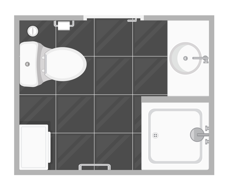 Bathroom Interior Top View Vector Illustration Floor Plan
