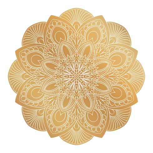 Ornamento de oro de la mandala del vector. Elementos decorativos vintage. Patrón redondo oriental. Islam, árabe, indio, turco, pakistán, chino, motivos otomanos. Dibujado a mano de fondo floral.