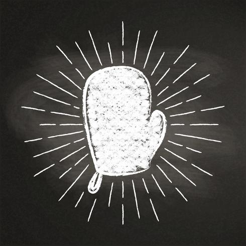 Chalk silhoutte of a mitten  with vintage sun rays on blackboard. Good for cooking logotypes, bades or posters. vector