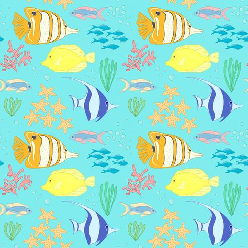 Seamless pattern with sea fish. vector