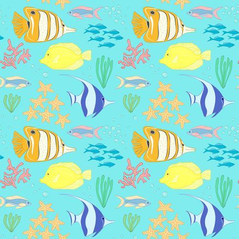 Modèle sans couture avec des poissons de mer. vecteur
