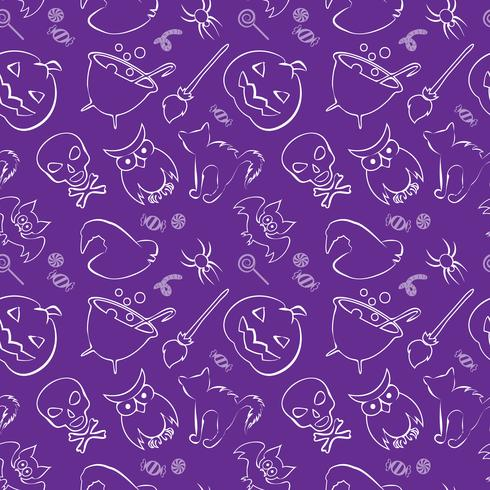 Vector seamless pattern with Halloween design elements.
