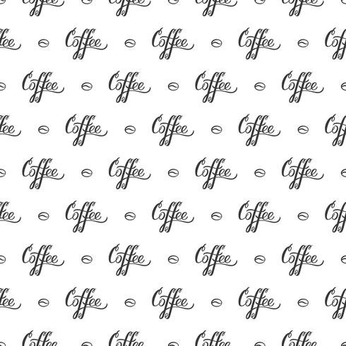 Modèle sans couture de vecteur avec lettrage à la main des grains de café et de café. Répétant l'arrière-plan pour le papier d'emballage, scrapbooking, design textile.