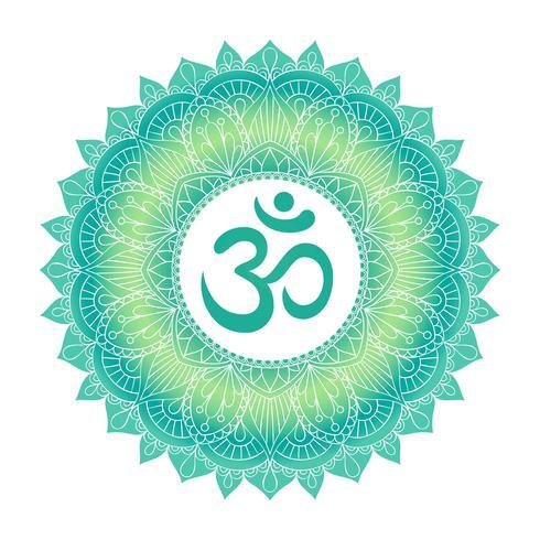 Aum Om Ohm symbol i dekorativ rund mandala prydnad.