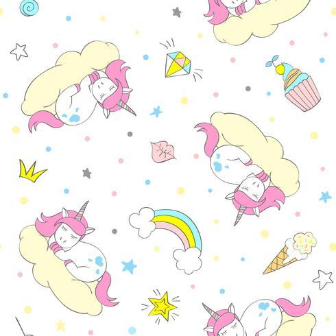 Naadloze vector eenhoorn patroon voor kinderen textiel, prints, wallpapper, sccrapbooking. Doodle schattige Eenhoorn met doodle elementen herhalende achtergrond.