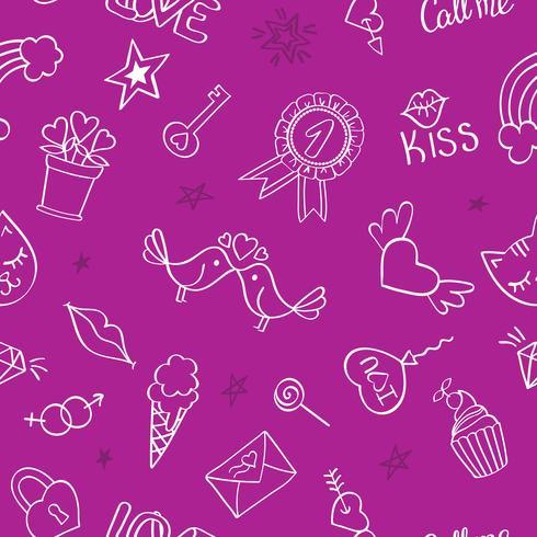 Modello senza cuciture con disegnati a mano scarabocchi girly. Ripetendo sfondo con elementi di design schizzo infantile per tessile, carta da parati, scrapbooking.