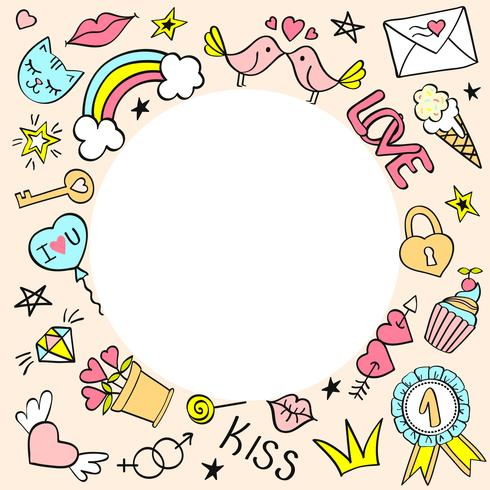 Round frame with hand drawn girly doodles for valentines day, birthday cards, posters.