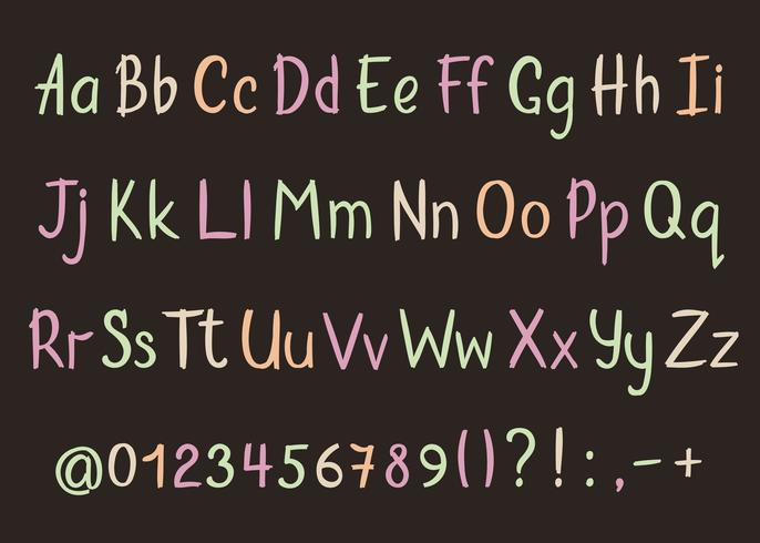 Alfabeto coloful en estilo esquemático. Vector de lápiz a mano letras, números y signos de puntuación. Pincel de fuente de escritura a mano.