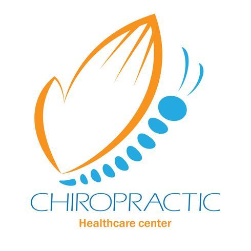 Logotipo da clínica de Quiropraxia com borboleta, símbolo da mão e da coluna vertebral.