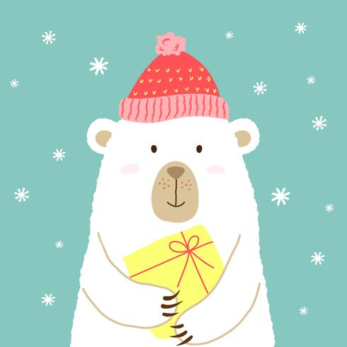 Vector illustration of cute cartoon bear in warm hat with gift in hands for placards, t-shirt prints, greeting cards.